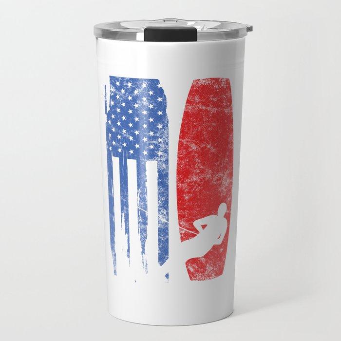 United States Of America Flag American Ski Waterskiing Travel Mug