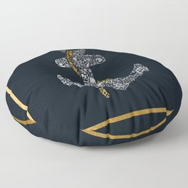 Anchor in Gold and Silver Floor Pillow