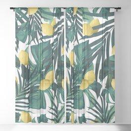 Tropical Lemon Twist Jungle #1 #tropical #decor #art #society6 Sheer Curtain