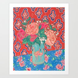 Roses in Enamel Flamingo Vase Art Print