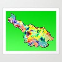 water colour Art Prints featuring Cavan Water Colour by Rachcox