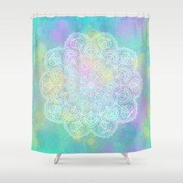 Yellow pastel mandala Shower Curtain
