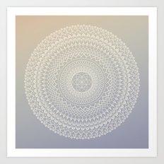 Lavender Cream Mandala Art Print