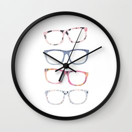 Bespectacled // Watercolor Glasses Print Wall Clock