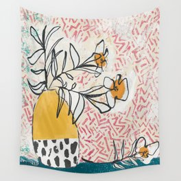 Yellow and Fushia Vase and Flowers Wall Tapestry