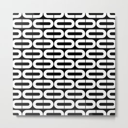 Contemporary Black and White Split Ovals Pattern Metal Print