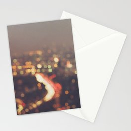 Los Angeles cityscape at night. Abstract Mulholland Stationery Cards