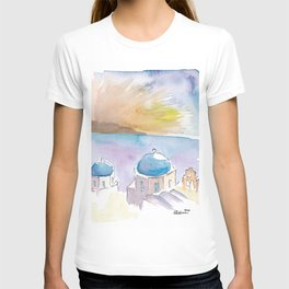 Santorini Blue Domes in Greece T-shirt