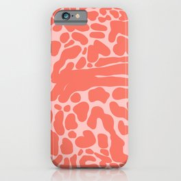 King Cheetah Print in Neon Coral + Blush Pink iPhone Case