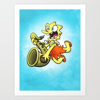 simpson Art Prints featuring Lisa Simpson by Joe McGro