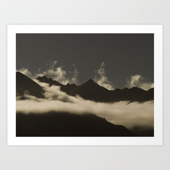up in the mountains, down on my mind Art Print