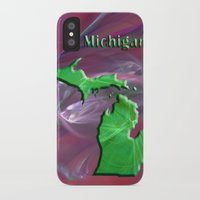 michigan iPhone & iPod Cases featuring Michigan Map by Roger Wedegis