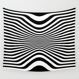 Black And White Stripes Op-Art Optical Illusion Retro Graphic Wall Tapestry