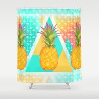 pineapples Shower Curtains featuring Pineapples by Ornaart