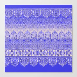 crochet lace mixed in blue Canvas Print