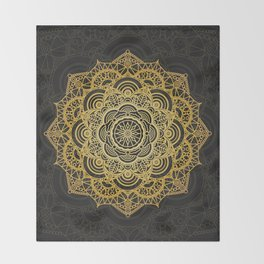 Gold mandala card Throw Blanket