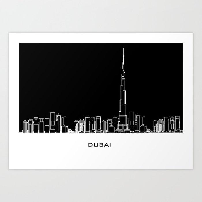 Dubai Skyline - Black Base Art Print