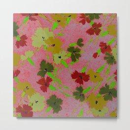 Fashion Textail Floral Print Design, Flower Bouquet Allover Pattern Metal Print