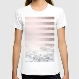 Rose Gold Pink Stripes and Marble Design T-shirt