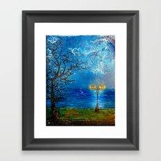 RendezVous - Earth kisses Sky in Moonlight Framed Art Print
