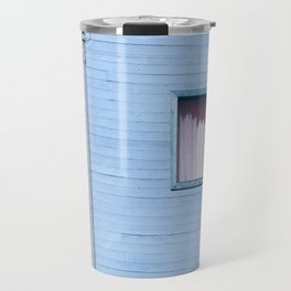 vintage blue wood building with window and electric pole Travel Mug