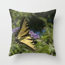 Yellow Butterfly Throw Pillow
