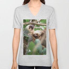 Yawning Baby Sloth - Cahuita Costa Rica Unisex V-Neck