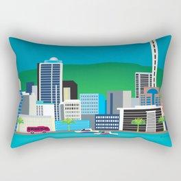 Auckland, New Zealand - Skyline Illustration by Loose Petals Rectangular Pillow