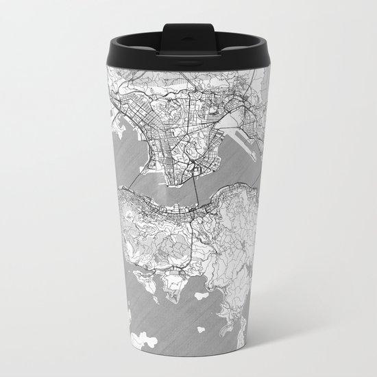 Hong Kong Map Line Metal Travel Mug