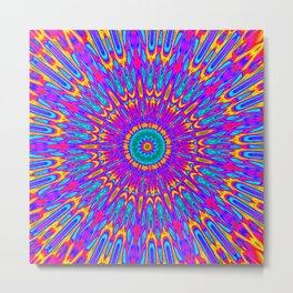 Happy Colors Explosion Psychedelic Mandala Metal Print