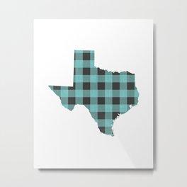 Texas Plaid in Mint Metal Print
