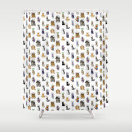 Science cats. History of great discoveries. Schrödinger cat, Einstein. Physics, chemistry etc Shower Curtain