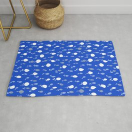 Ditzy flowers on blue Rug