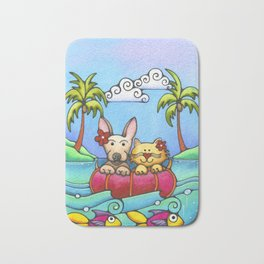 Dog and Cat Best Friends Beach Tropical Painting Kitty Chihuahua Bath Mat