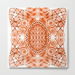 Orange Zentangle Tile Doodle Design Metal Print