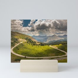Sports cars race over Cottonwood Pass in Colorado Mini Art Print