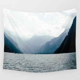 Misty Lake in the Alps Wall Tapestry