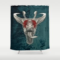 edm Shower Curtains featuring DRAQVVL (background option) by Obvious Warrior