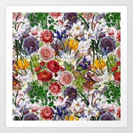 Vintage & Shabby Chic - Lush baroque flower garden pattern on pink Art Print