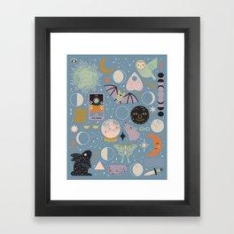Lunar Pattern: Blue Moon Framed Art Print