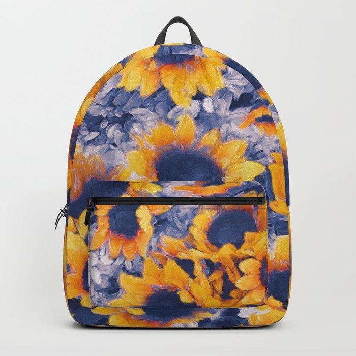 Sunflowers Blue Backpack