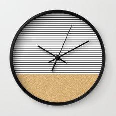 Minimal Gold Glitter Stripes Wall Clock