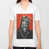 biggie smalls V-neck T-shirts featuring Biggie Smalls by Larry Caveney