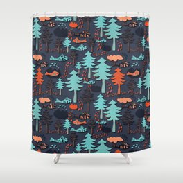 Fishes in the wood Shower Curtain