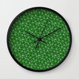 Dark Emerald Triangles Wall Clock