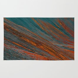 Red and blue turquoise mountain slope Rug