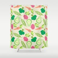vegetable Shower Curtains featuring VEGETABLE PARTY! by Claudia Ramos Designs