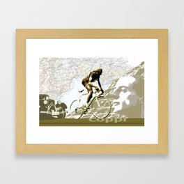Tour De France Legend Cyclist Fausto Coppi with Map and Portrait Framed Art Print