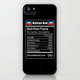 Haitian Dad Nutrition Facts Fathers Day iPhone Case