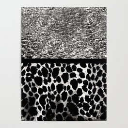 Animal Print Leopard Silver and Black Poster